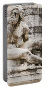 Roman Statue With Pigeon And Wildflowers Portable Battery Charger