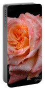 Rose And Raindrops On Black Portable Battery Charger