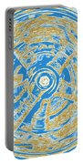 Round And Round Blue And Gold Portable Battery Charger
