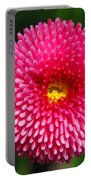 Round Pink Flower Portable Battery Charger