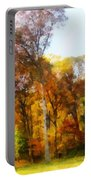 Row Of Autumn Trees Portable Battery Charger
