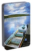 Rowboat Docked On Lake Portable Battery Charger