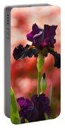 Royal Purple Tall Bearded Iris With Peachy Azalea Background Portable Battery Charger