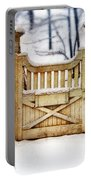 Rustic Wooden Gate In Snow Portable Battery Charger
