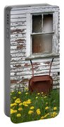Rusty Wheelbarrow And Wildflowers Portable Battery Charger