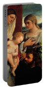 Sacra Conversatione With Ss Catherine Sebastian And Holy Family Portable Battery Charger