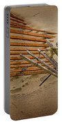 Sand Fence Falling Down On The Beach Portable Battery Charger