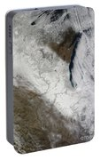 Satellite View Of Snow And Cold Portable Battery Charger