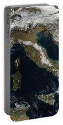 Satellite View Of Snow In Italy Portable Battery Charger