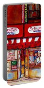 Schwartz's Deli-montreal Street Scenes-painting-by  Quebec Artist-carole Spandau Portable Battery Charger