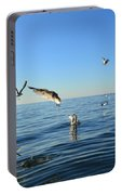 Seagulls Over Lake Michigan Portable Battery Charger