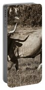 Sepia Longhorn Cow Portable Battery Charger