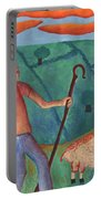 Shepherd Boy Detail Of Red Sky At Night Portable Battery Charger