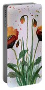 Shining Red Poppies Watercolor Painting Portable Battery Charger