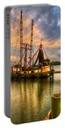 Shrimp Boat At Sunset Portable Battery Charger