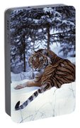 Siberian Tiger Lying On Mound Of Snow Portable Battery Charger