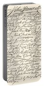 Signatures Attached To The American Declaration Of Independence Of 1776 Portable Battery Charger