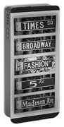 Signs Of New York In Black And White Portable Battery Charger by Rob Hans