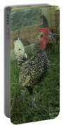 Silver Seabright Rooster And Hen Portable Battery Charger