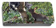 Silver Tabby And Wild Rabbit Portable Battery Charger