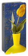 Single Yellow Tulip In Yellow Vase Portable Battery Charger