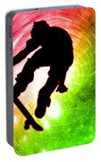 Skateboarder In A Psychedelic Cyclone Portable Battery Charger