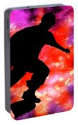 Skateboarder In Cosmic Clouds Portable Battery Charger