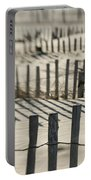 Slats Of Wooden Fence Throwing Shadows Portable Battery Charger