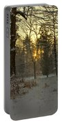 Snow Storm Sunset Portable Battery Charger