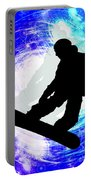 Snowboarder In Whiteout Portable Battery Charger