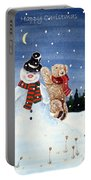Snowman In Top Hat Portable Battery Charger by Gordon Lavender