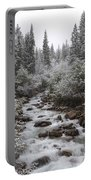Snowy Foliage Along Stream In Autumn Portable Battery Charger