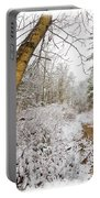 Snowy Watercolor Portable Battery Charger by Debra and Dave Vanderlaan