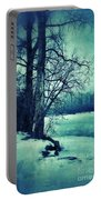 Snowy Woods By A Lake Portable Battery Charger