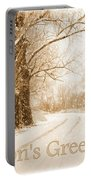 Soft Sepia Season's Greetings Card Portable Battery Charger