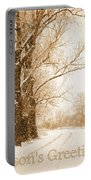 Soft Sepia Season's Greetings Portable Battery Charger