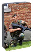 Soldiers Of The Belgian Army Helping Portable Battery Charger