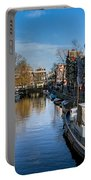 Spiegelgracht And Ship Amsterdam Portable Battery Charger