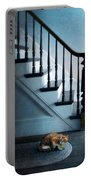Spooked Cat By Stairs Portable Battery Charger