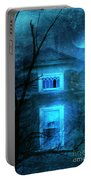 Spooky House With Moon Portable Battery Charger by Jill Battaglia