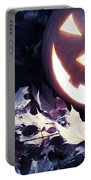 Spooky Jack-o-lantern On Fallen Leaves Portable Battery Charger
