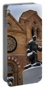 St Francis Cathedral In Santa Fe - Winter Portable Battery Charger