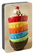 Stack Of Colored Bowls With Ice Cream On Top Portable Battery Charger