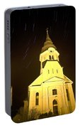 Star Trails Behind Vodice Church Portable Battery Charger