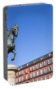 Statue Of King Philip IIi At Plaza Mayor Portable Battery Charger