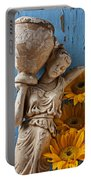 Statue Of Woman With Sunflowers Portable Battery Charger