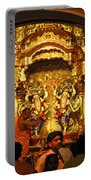 Statues Of Ram And Lakshman And Sita At The Iskcon Temple In Delhi Portable Battery Charger