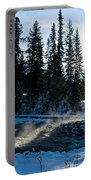 Steaming River In Winter Portable Battery Charger