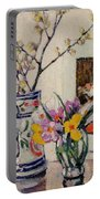 Still Life With Flowers In A Vase   Portable Battery Charger