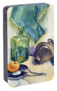 Still Life With Green Bottle Portable Battery Charger